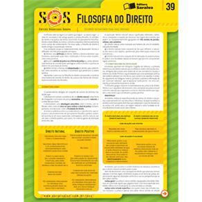 Sinteses Organizadas Saraiva: Filosofia do Direito- Vol. 39 - Col. Sos