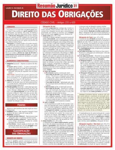 Resumao Juridico - Direito das Obrigacoes