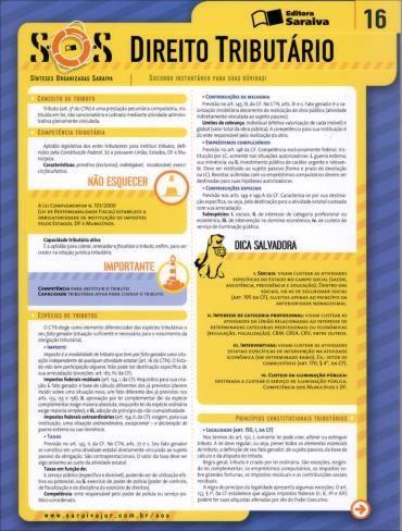 Sínteses Organizadas Saraiva: Direito Tributário - Vol. 16 - Col. Sos