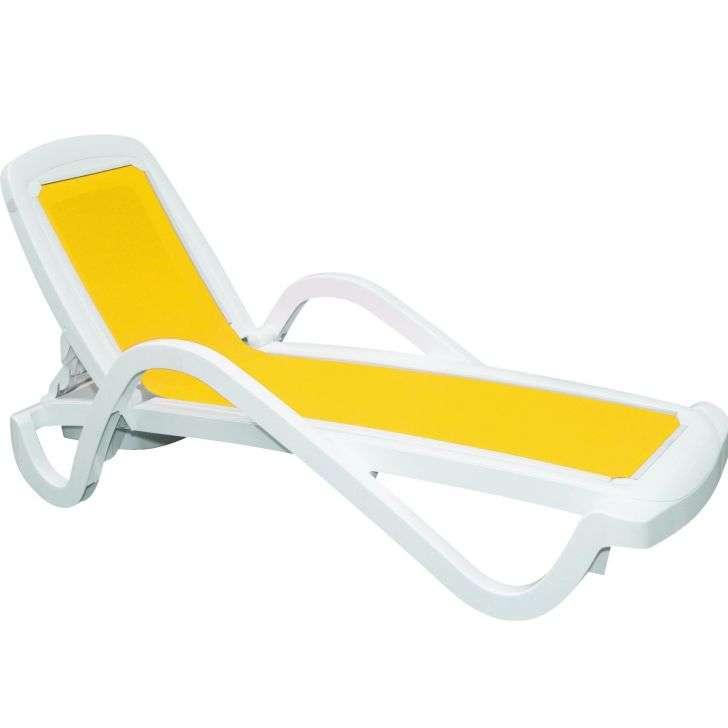 Espreguiçadeira Cancun Plastico Amarela e Branca 92254/000 Tramontina