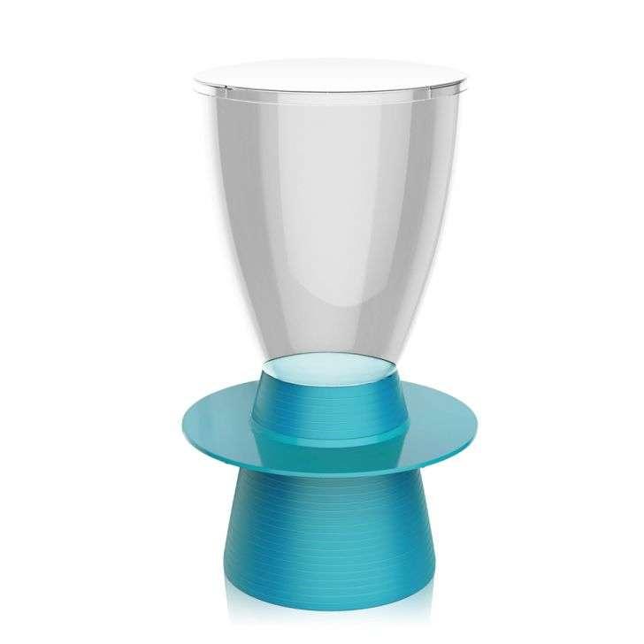 Banqueta Tinn Assento Cristal Base Color Azul I'm In Home