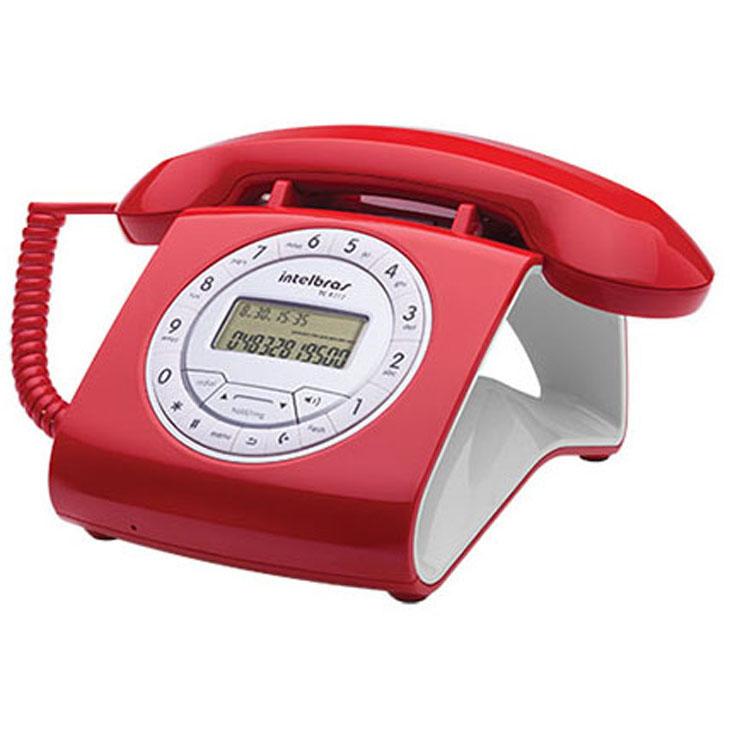 Telefone Com Fio Intelbras Retrô Tc8312 Com Id Vermelho
