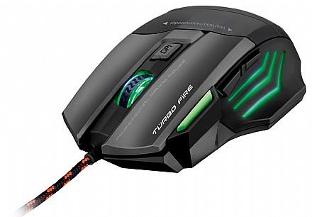 Mouse Usb Óptico Led 3200 Dpis Gamer Warrior Turbo Fire Mo207 Multilaser