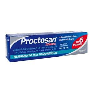 Proctosan 0,0250mg Pom Bg 20g + 1aplic - Castanha da India + Mentol + Lidocaina + Azuleno + Hamamelis - Hertz