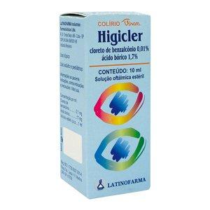 Higicler 0,1 + 17mg Sol Oft Fr 10ml - Cloreto de Benzalconio + Acido Borico - Latinofarma
