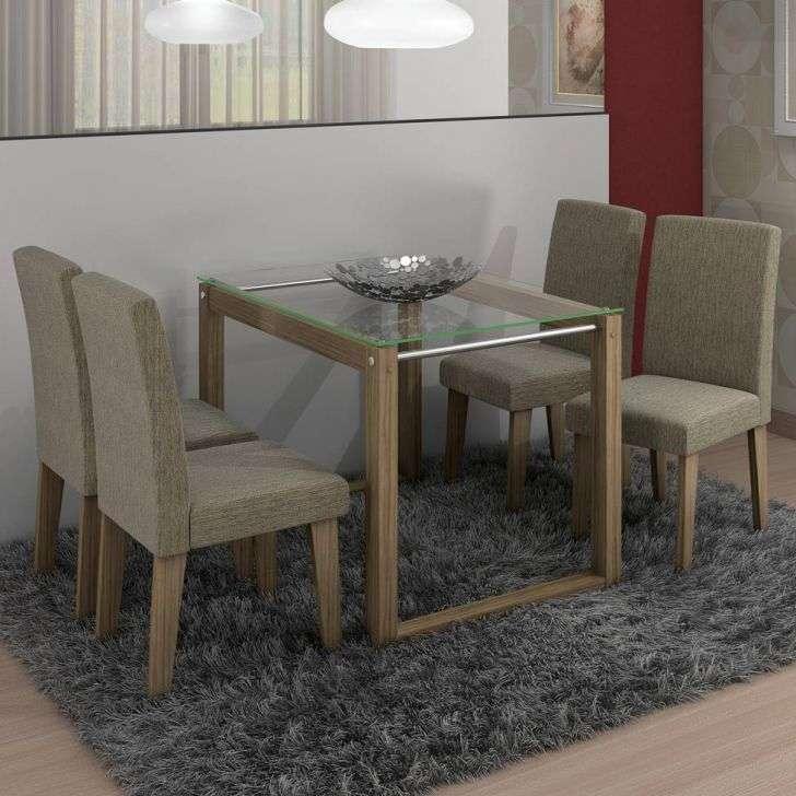 Conjunto de Mesa e Cadeira Milena 4 Cadeiras Cimol