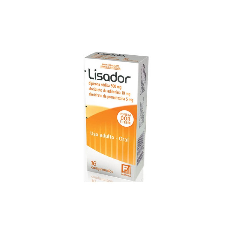 Lisador 500 + 5 + 10mg Cx 16 Comp - Dipirona Sodica + Prometazina + Adifenina - Farmasa