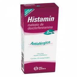 Histamin 2mg Cx 20 Comp - Maleato de Dexclorfeniramina - Neo Quimica
