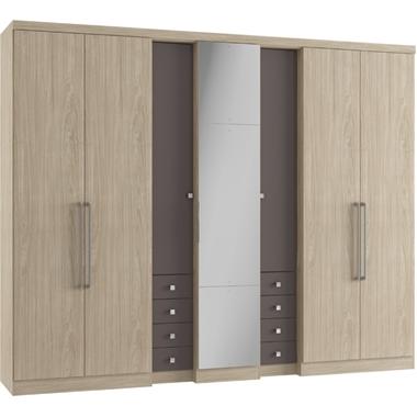 Guarda-roupas Thb Móveis Absolut Plus Glass Com 7 Portas 8 Gavetas Com Espelho