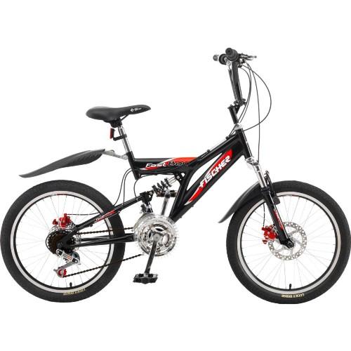 Bicicleta Fischer Fast Boy Aro 20 Full Suspensão 18 Marchas - Preto/vermelho