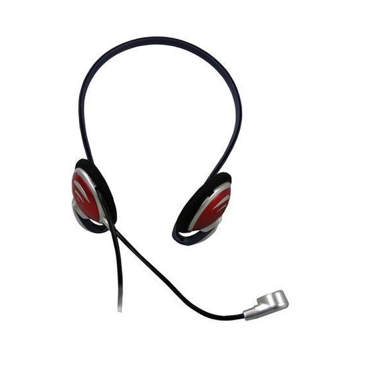 Fone de Ouvido Headset Multimidia Prata e Vermelho Fortrek Hs306