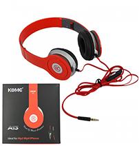 Fone de Ouvido Headphone Stéreo Dobrável Vermelho Oletech A13