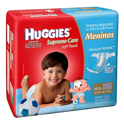 Fraldas Descartáveis Supreme Care Soft Touch Tamanho Xxg C/ 16 Unidades Meninos Jumbo Huggies