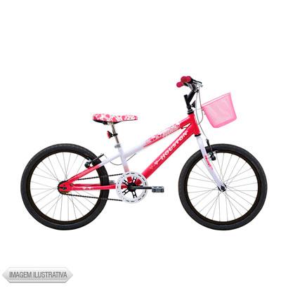Bicicleta Houston Nina Aro 20 Rígida 1 Marcha - Branco/rosa