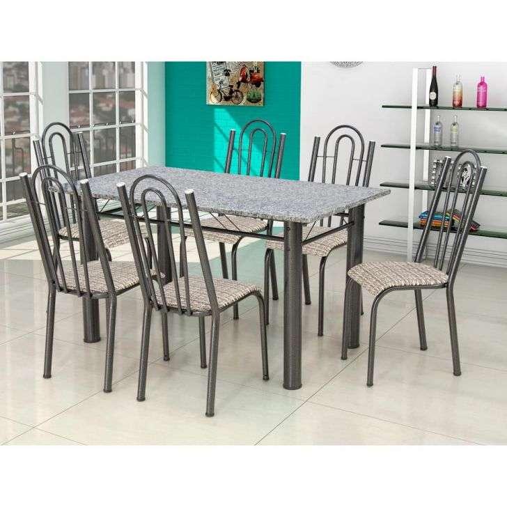 Conjunto de Mesa e Cadeira Luiza 6 Cadeiras Artefamol