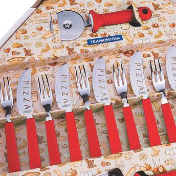 Faqueiro P/ Pizza Vermelho 14 Peças Tramontina 25099722