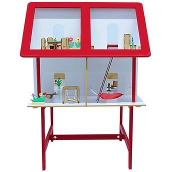 Casinha Infantil Vermelha Com Móveis 42 Itens em Mdf Carlu Brinquedos