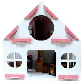Casinha Infantil Rosa Com Móveis 39 Itens Carlu Brinquedos