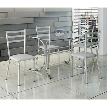 Conjunto de Mesa e Cadeira Nina 4 Cadeiras Criativa