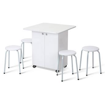 Conjunto de Mesa e Cadeira Sabrina 4 Cadeiras Criativa