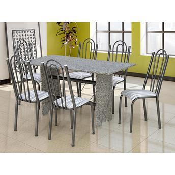 Conjunto de Mesa e Cadeira Pietra 6 Cadeiras Artefamol