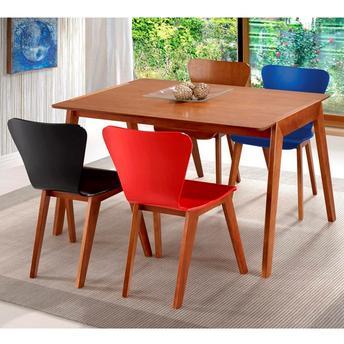 Conjunto de Mesa e Cadeira Hanna 4 Cadeiras Seiva Móveis