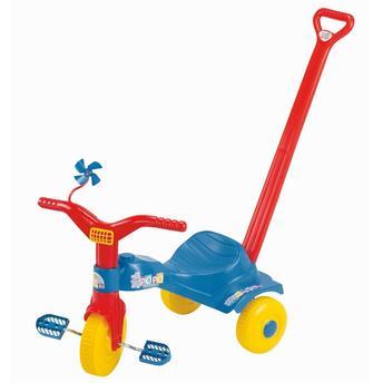 Triciclo C/ Empurrador Popó Azul/vermelho Magic Toys 2111