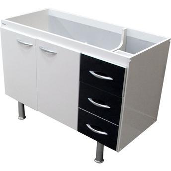 Armário para Cozinha Balcão Com Tampo Milano 2 Portas 3 Gavetas Gpp10 Mobly