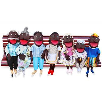 Pelúcia Fantoches Gigantes Família Negra 7 Personagens 1731 Carlu Brinquedos