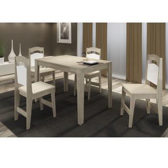 Conjunto de Mesa e Cadeira Mesa Milão/ 4 Cadeiras Paris P&c Artemobili