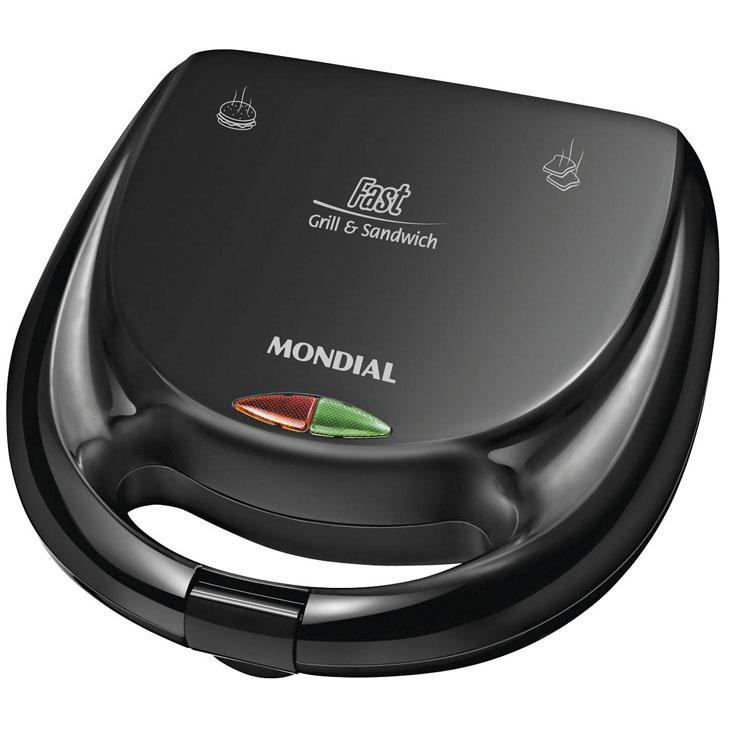 Grill + Sanduicheira Mondial Fast Preto - 110v S12