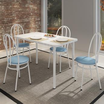Conjunto de Mesa e Cadeira Roma 4 Cadeiras Bonavita Móveis