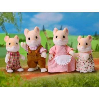 Bonecos Família Hamster - Sylvanian Families 4 Peças Epoch Magia