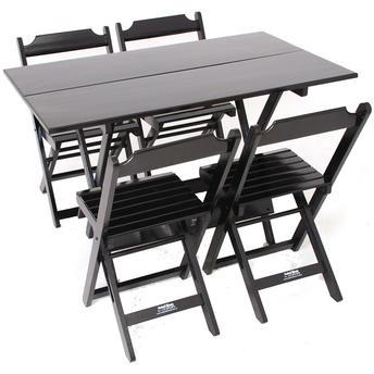 Conjunto de Mesa 120x70cm Com 4 Cadeiras Dobráveis em Madeira Preto Madesil