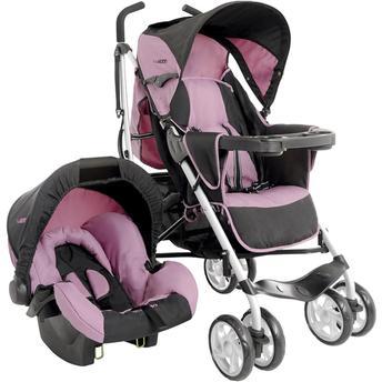 Carrinho de Bebe Kiddo Bebê Conforto Cross Preto e Rosa