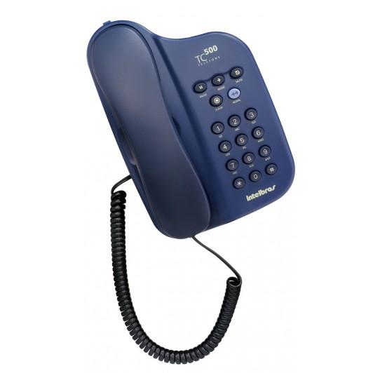 Telefone Com Fio Intelbras Tc500 Sem Id Azul - Com Chave