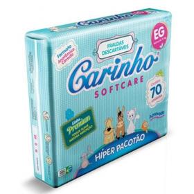Fraldas Descartáveis Premium Extra Grande Híper Pacotão - 70 Unidades Carinho Softcare