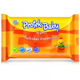 Lenços Umedecidos Protek Baby Wipes - 50 Unidades Pompom