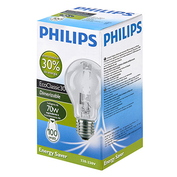 Lâmpada Philips Halógena Eco Classic 70w 220v 4 Unid