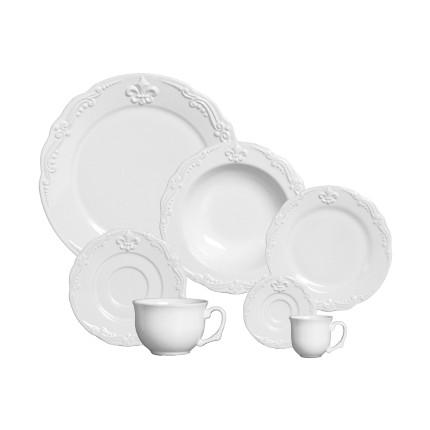Aparelho de Jantar , Chá e Café Flor de Lis Premium Branco 42 Peças - Porto Brasil