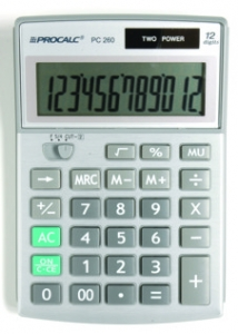 Calculadora de Mesa 12 Dígitos Frente Metalizada Pc260 Procalc
