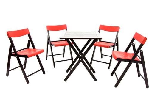 Conjunto de Mesa e 4 Cadeiras Dobravéis Tabaco Com Vermelho Potenza 10630/029 Tramontina