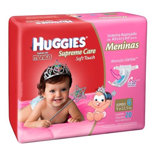 Fraldas Descartáveis Supreme Care Soft Touch Tamanho G C/ 20 Unidades Meninas Jumbo Huggies