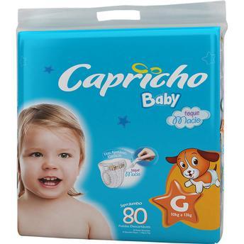 Fraldas Descartáveis Baby Tamanho Grande Super Jumbo Tamanho G Com 80 Unidades Capricho