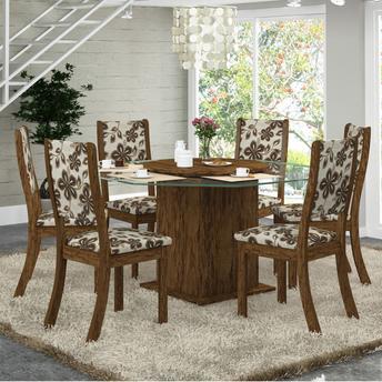 Conjunto de Mesa e Cadeira Laleska 6 Cadeiras Viero Móveis