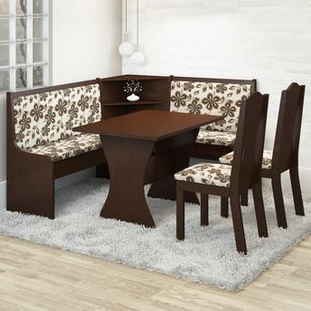 Conjunto de Mesa e Cadeira Canto Alemão Jasmim 2 Cadeiras Viero Móveis