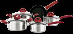 Conjunto de Panela Inox Black Beat 5 Peças Vermelho Brinox 4806100