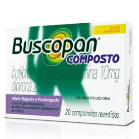Buscopan Composto 10 + 250mg Cx 20 Comp - Butilbrometo de Escopolamina + Dipirona Sodica - Boehringer