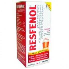 Resfenol 40 + 0,6 + 0,6mg Sol Or Fr Gts 100m - Paracetamol + Cloridrato de Fenilefrina + Maleato de Clorfe - Hertz
