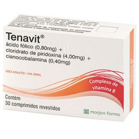 Tenavit 0,8 + 4 + 0,4mg Cx 30 Comp Rev - Acido Folico + Cloridrato de Piridoxina + Cianocobalamina - Marjan